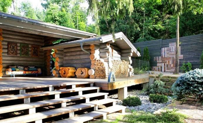 Дизайн двора частного дома в «экологическом» стиле. Необходимо выдержать единство внешнего вида с другими сооружениями на участке