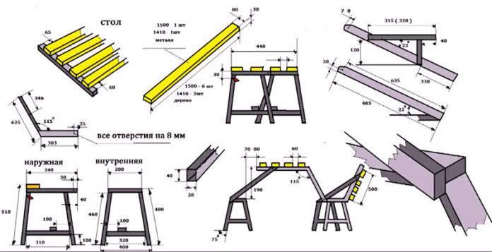 Стол чертежи из металла