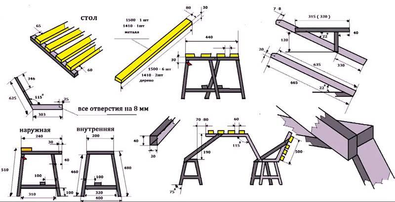 Схематичный план сборки с размерами