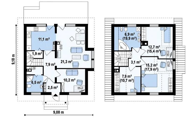 План дома с мансардным этажом 9 х 9