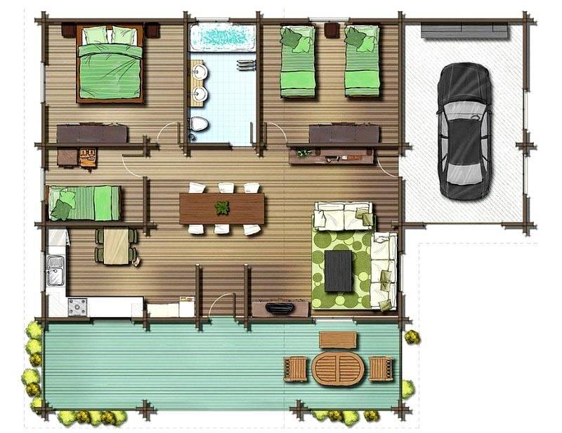 План дома 8 х 10 с гаражом