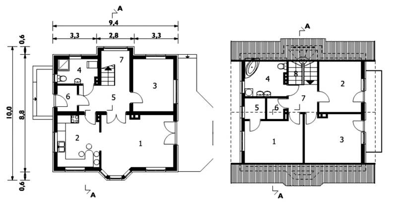Первый этаж и мансарда дома 10 х 10 м