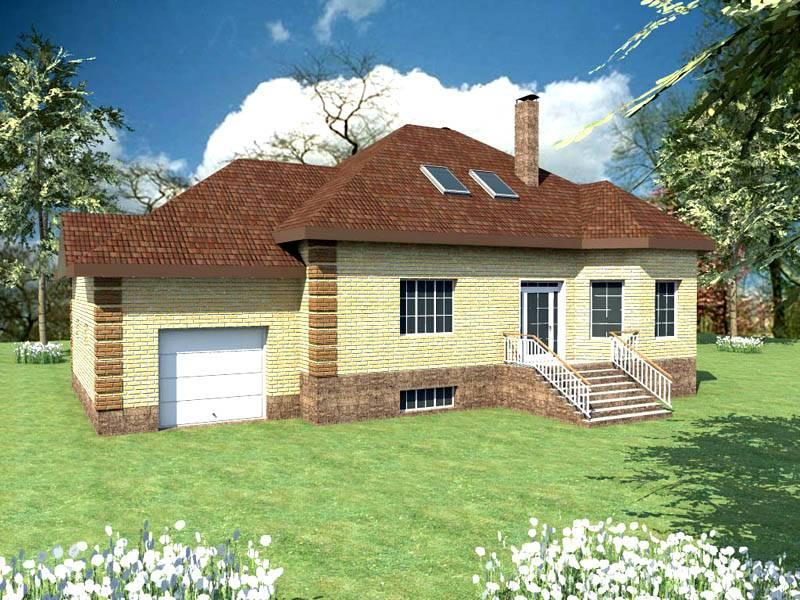 Дом с гаражом, цокольным этажом и мансардой