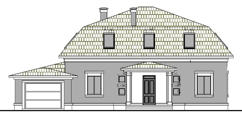 Расположение гаража у дома с мансардой и ломаной крышей