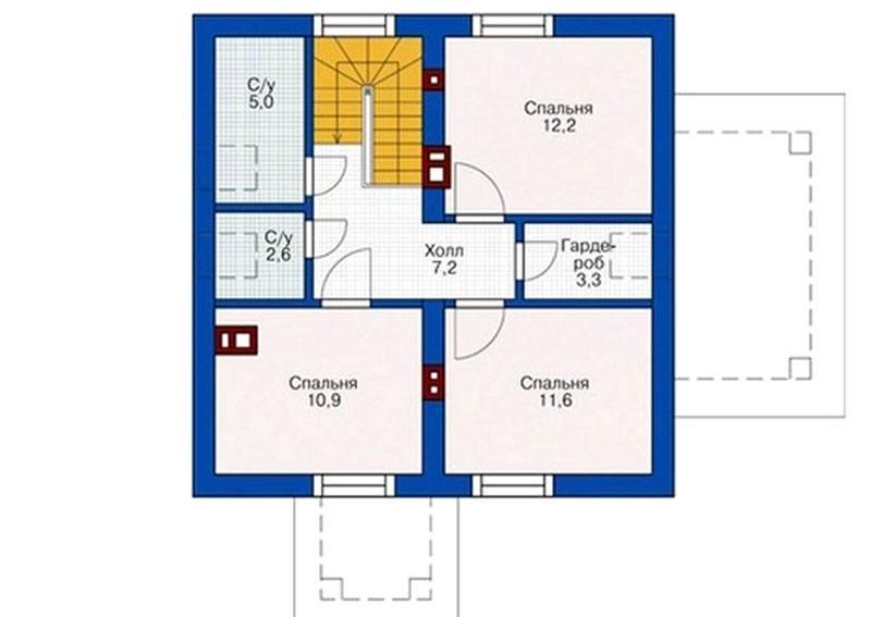 Планировка дома на 9 на 9 м с мансардой