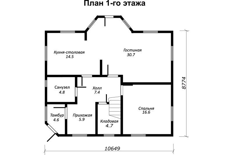 План дачного дома 10 х 8