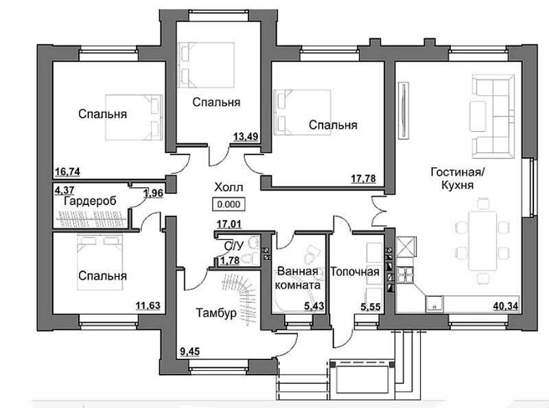 Планировка одноэтажного частного дома площадью до 150 кв. м