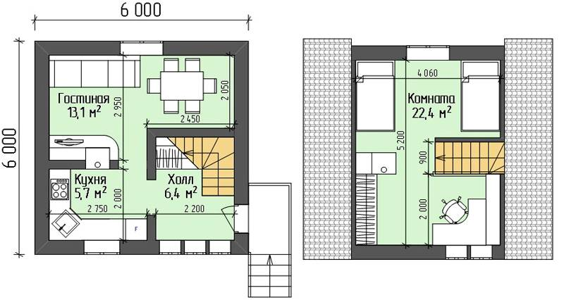 Здание с мансардным этажом 6 х 6. План