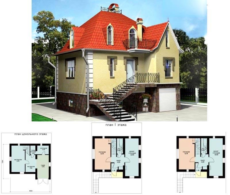Дом 8 на 8 с цокольной частью