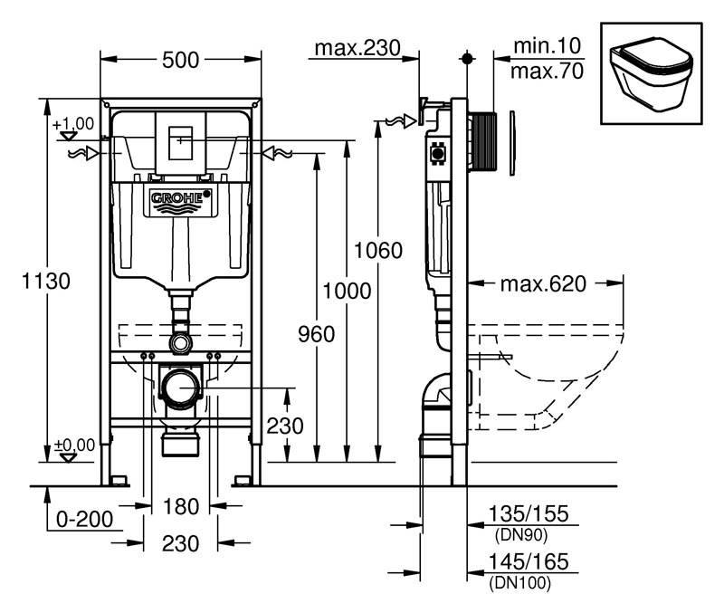 На схеме показаны размеры модели и габариты и отдельные части панели смыва