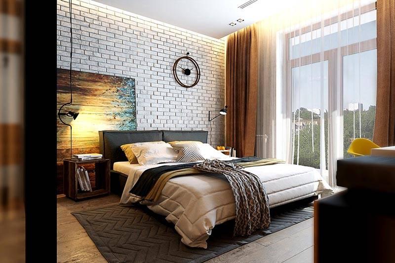 Светлая спальня в промышленном дизайне