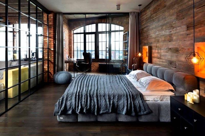 Легкие перегородки отделяют спальное место от рабочего кабинета и гостиной