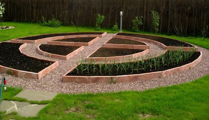 Среди газона отведено место для растений