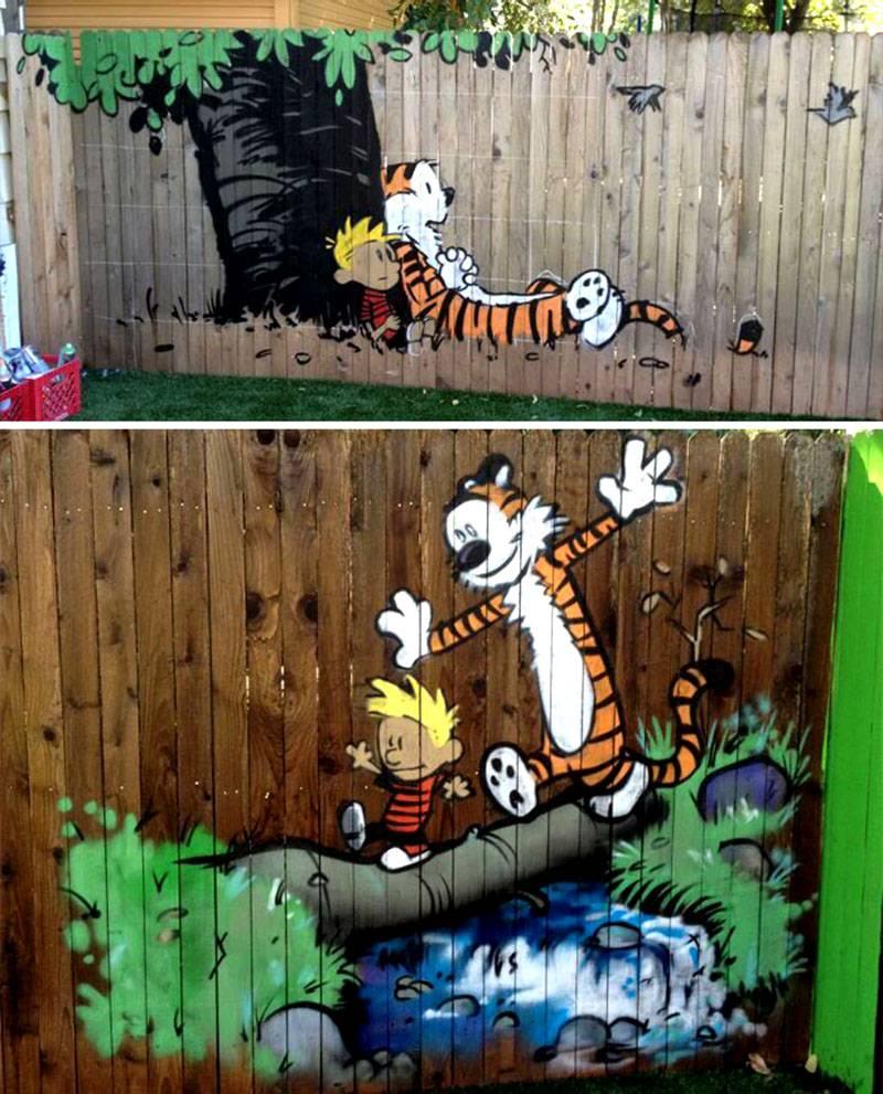 Веселые рисунки на заборе