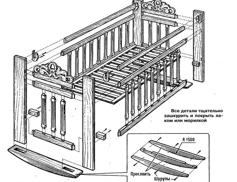 На фото схема с размерами детской кроватки с полозьями для раскачивания