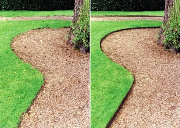 До и после использования бордюрной ленты