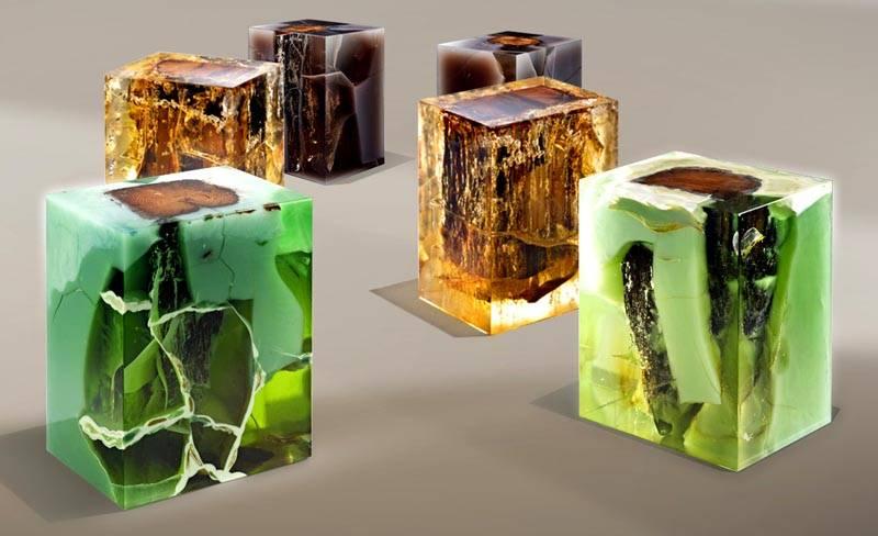 Оригинальные табуреты можно сделать из дерева и эпоксидной смолы