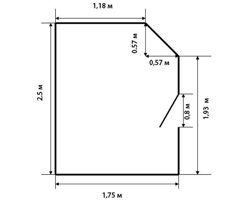 Пример комнаты неправильной формы