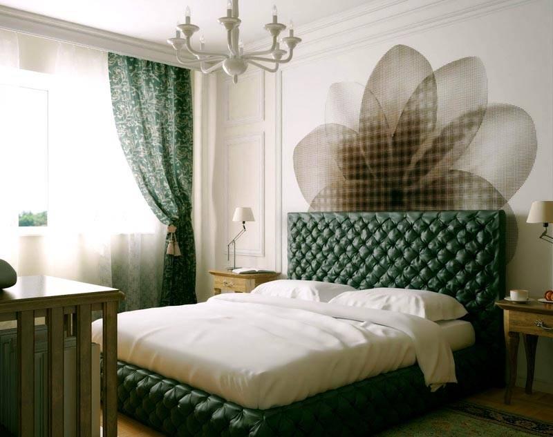 Дизайн спальни с комбинированными обоями, фото-пример с сочетанием зеленого и белого цвета