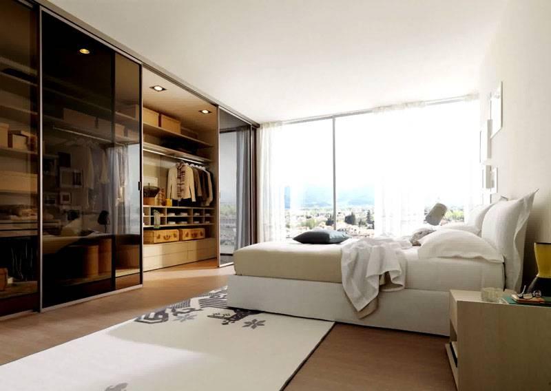 Дизайн 2017 гардеробной в спальне