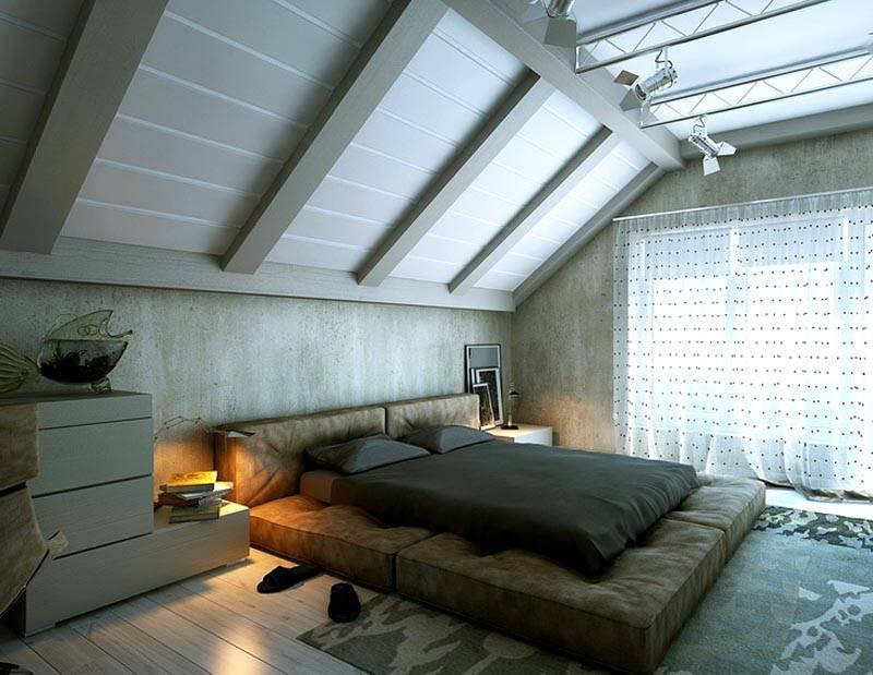 Фото дизайна спальни на мансарде -интересный вариант для оформления помещения