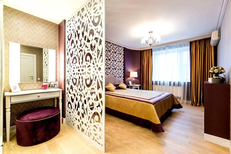 Дизайн спальни 18 квадратов: зонирование при помощи ширмы