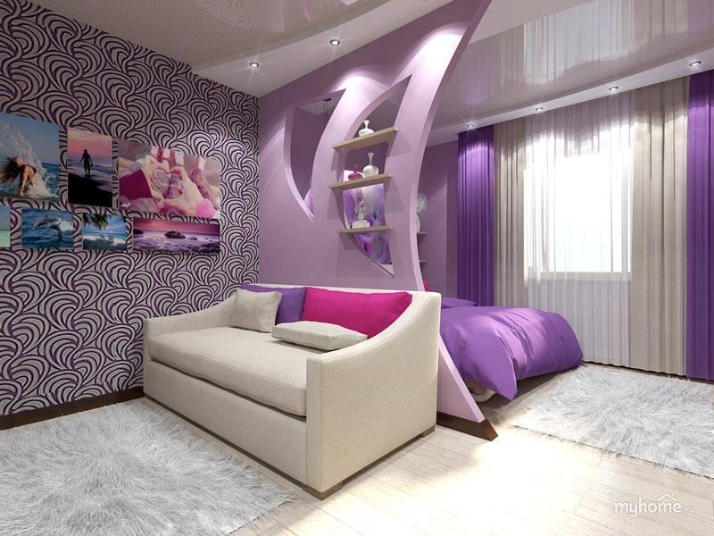 Приятная фиолетовая цветовая гамма в спальне-гостиной