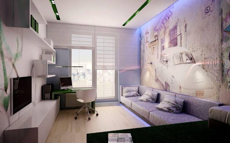Оформление спальни-кабинета без зонирования