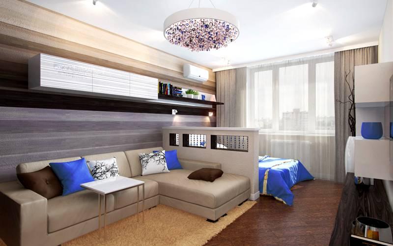 Контрастный дизайн спальни-гостиной