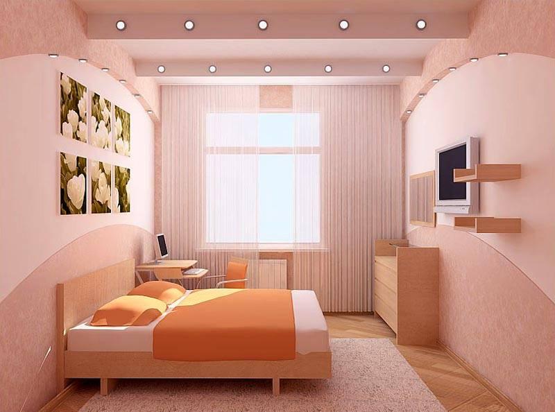 Мягкая персиковая спальня