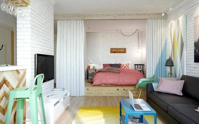 Зонирование небольшой спальной