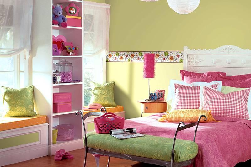 Оригинально оформление спальни для девочек