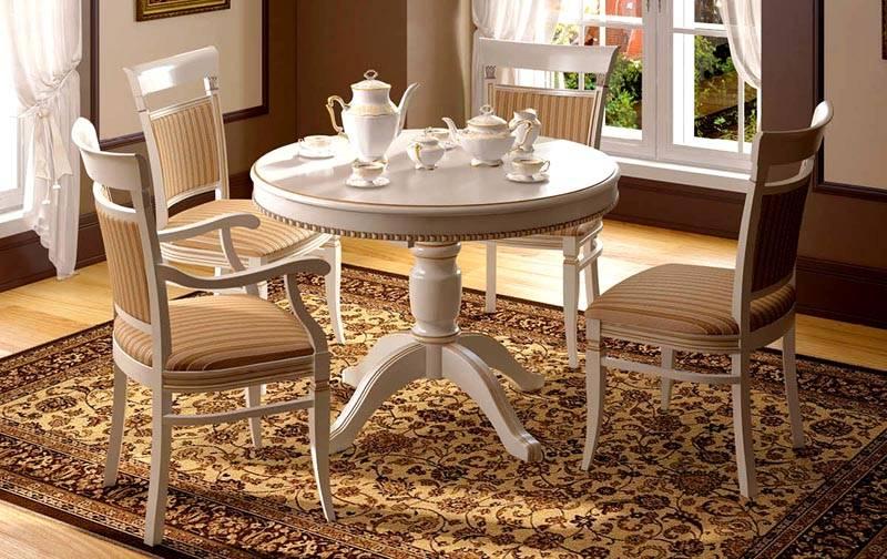 Немаловажный момент – ножки стола. Если кухонный гарнитур выполнен в стиле шебби-шик, прованс или классика – выбирайте балясины и резные формы
