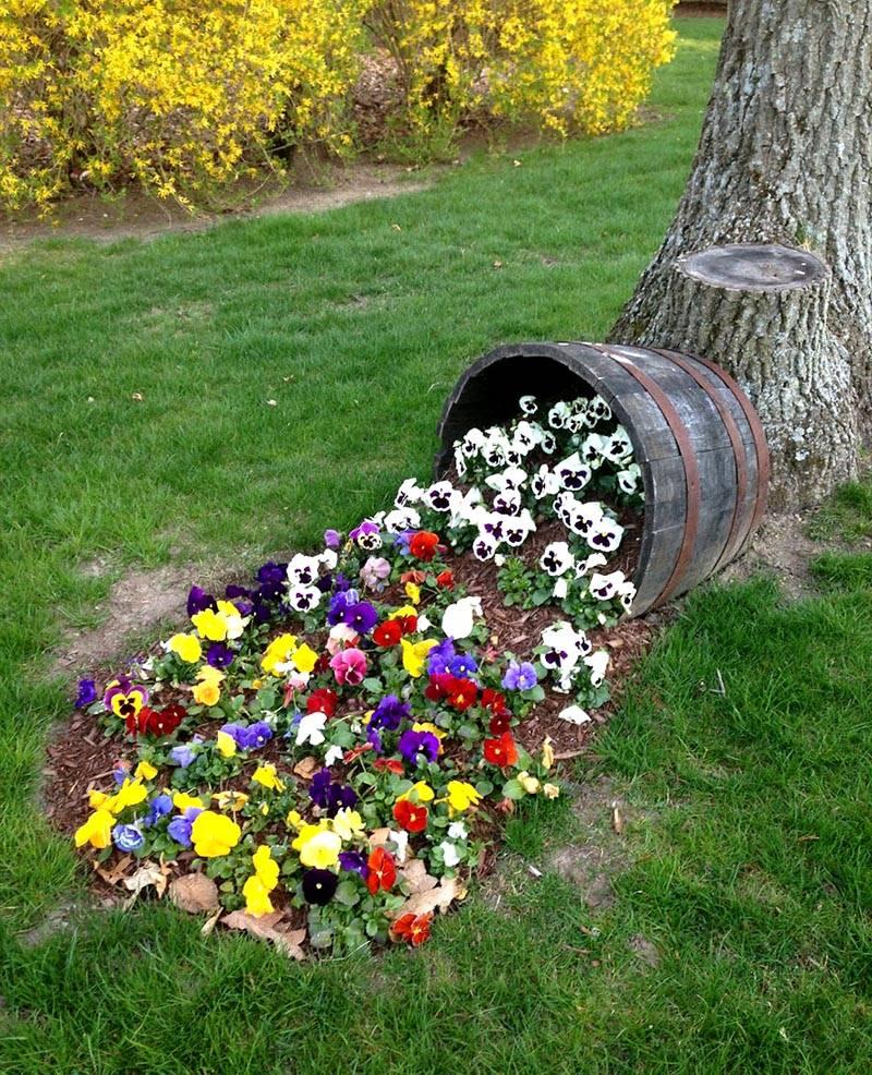 Удивительная идея для цветочной клумбы