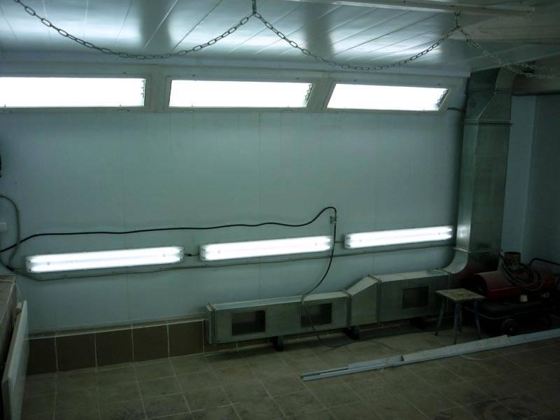 освещение гаража под покраску