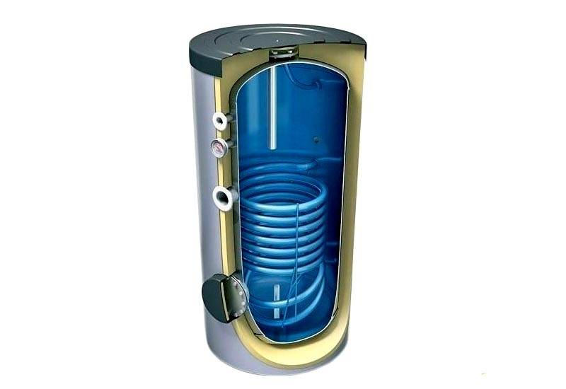 Бойлер в разрезе, внутри змеевик, в котором нагревается вода