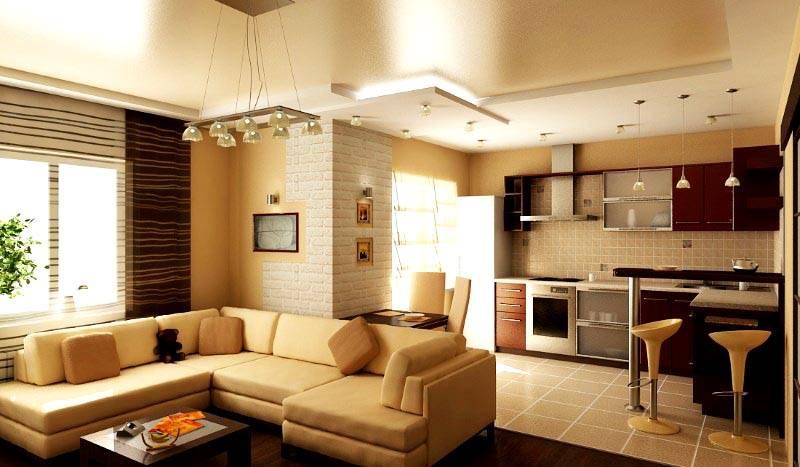 Кухня студия комбинированной планировки