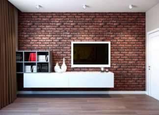 Кирпичная стена, обои под кирпич в интерьере