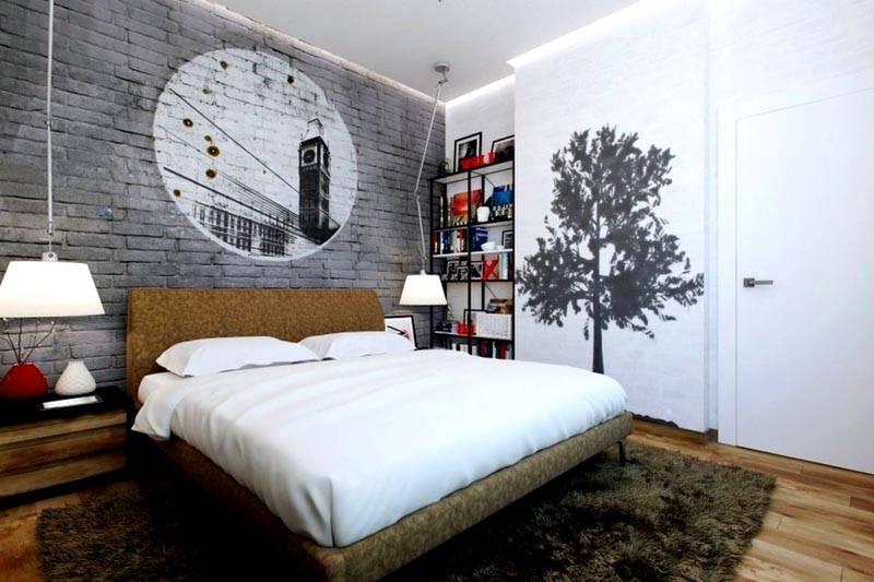 Декорирование кирпичной поверхности в спальне