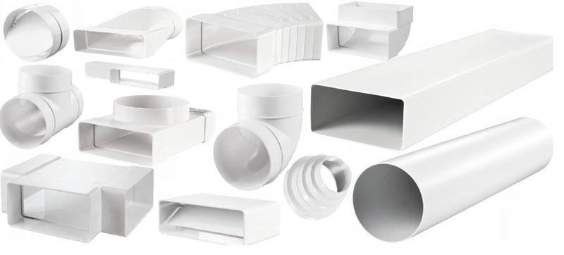 В типичном каталоге пластиковых прямоугольных воздуховодов для вентиляции можно найти изделия для формирования системы любого уровня сложности