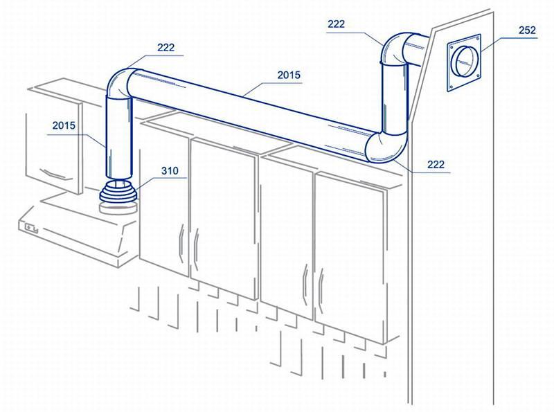 Подсоединение вытяжки кухни пластиковым воздуховодом к центральному каналу