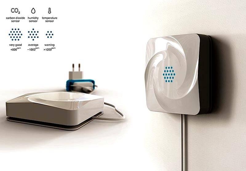 Такое устройство проверяет в непрерывном режиме содержание углекислого газа, температуру, влажность. Сигналы с него используют для автоматической регулировки вентиляционного и климатического оборудования