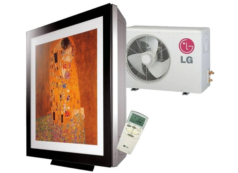 Выразительный дизайн внутренних блоков LG серии ARTCOOL Gallery. Картину можно заменять, поэтому не сложно создать оформление крупной панели с учетом особенностей определенного интерьера