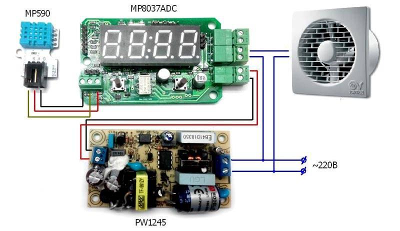 Автоматизировать работу вентиляции в туалете частного дома и защитить от перепадов напряжения можно с применением специализированных комплектов электроники
