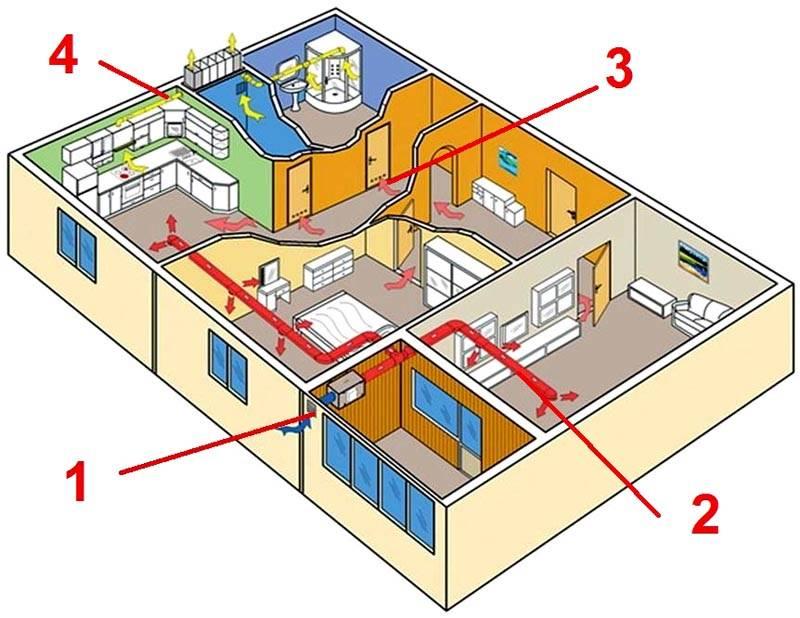 Для создания хорошей системы вентиляции надо создать достаточно эффективные пути поступления и вывода воздуха