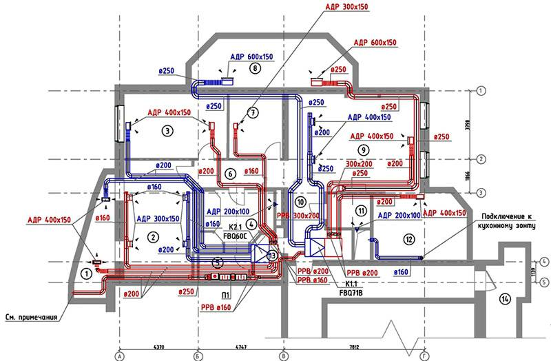 Чертеж системы воздуховодов и подключенного оборудования для одного этажа здания