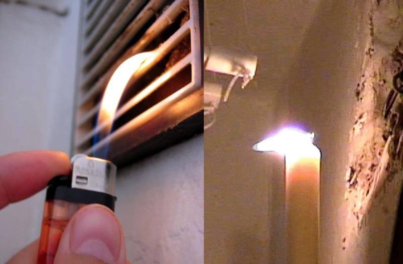 Проверяют действенность установленной системы с применением подобной простой методики, по отклонению пламени