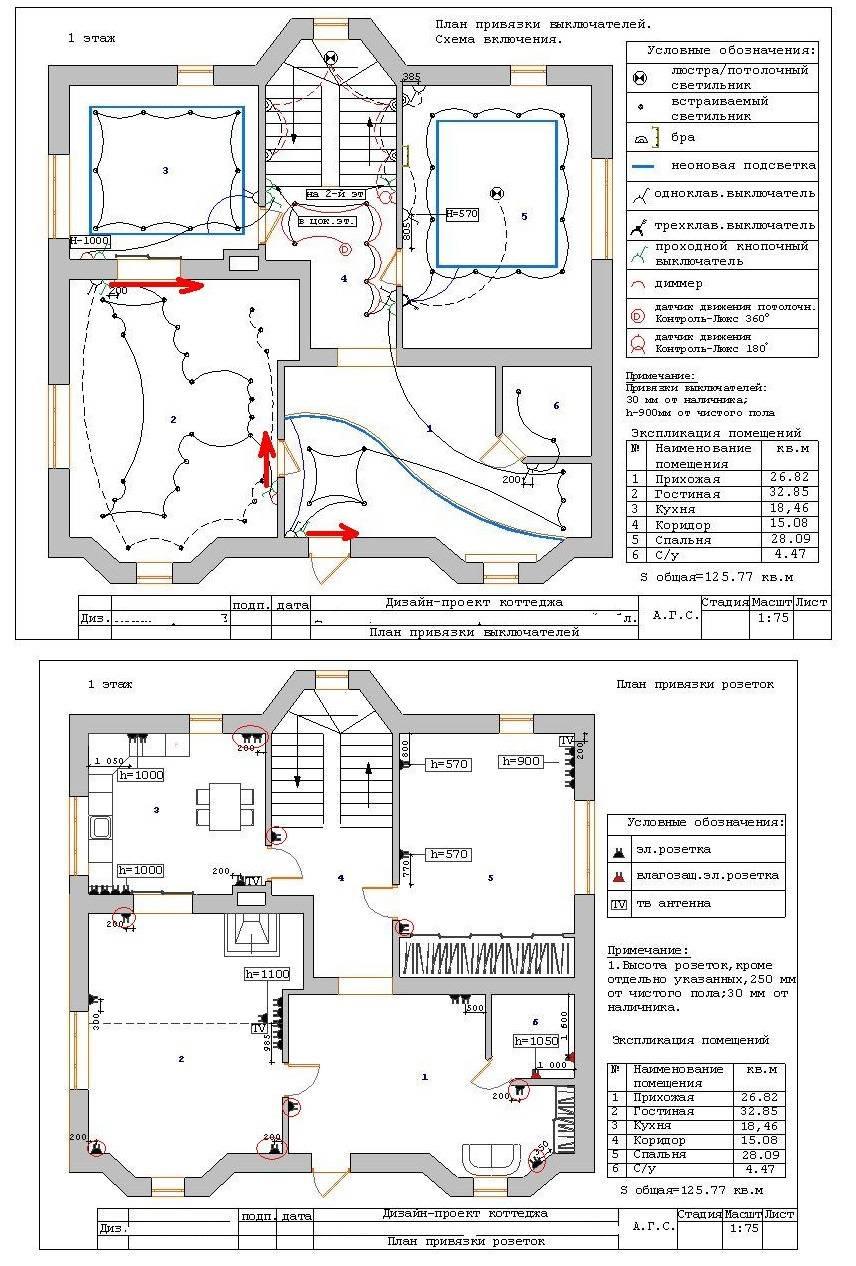 План монтажа компонентов системы электропитания в двухэтажном коттедже