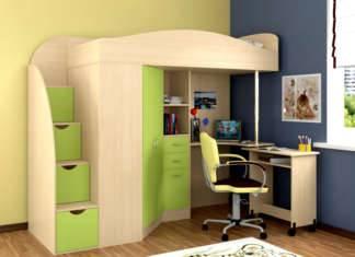 Кровать-чердак с рабочей зоной для подростка