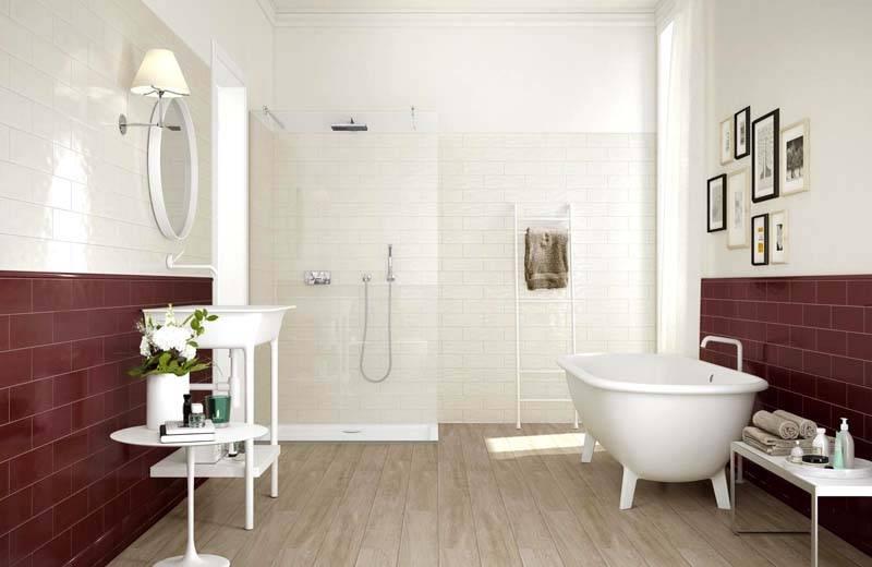 Двухцветное решение для ванной комнаты